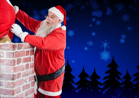 Santa claus placing his gift sack into the chimney at night