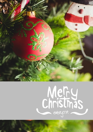Composite image of merry christmas against vibrant christmas decoration