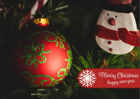 Composite image of merry christmas and happy new year wishes against vibrant christmas decoration