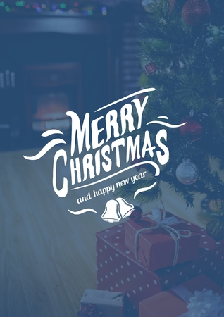 domicile: Digitally composite image of merry christmas and 2017 new year sign against christmas tree and gifts