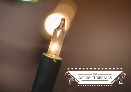 fairy light: Digitally composite image of merry christmas with illuminated fairy light bulb