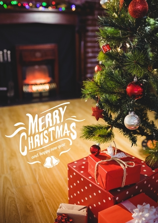 abode: Digitally composite image of merry christmas message against christmas tree and gifts