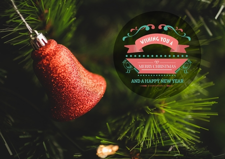 sparkly: Digitally composite image of merry christmas and happy new year against sparkly christmas bell