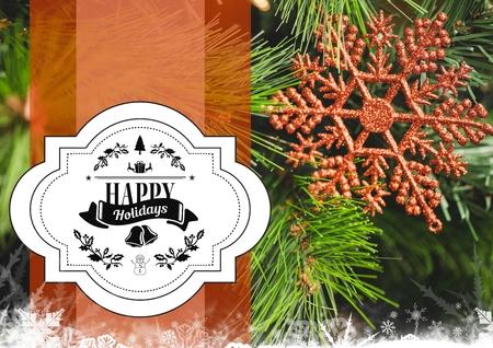 digitally generated image: Digitally composite image of happy holidays against digitally generated christmas decoration Stock Photo