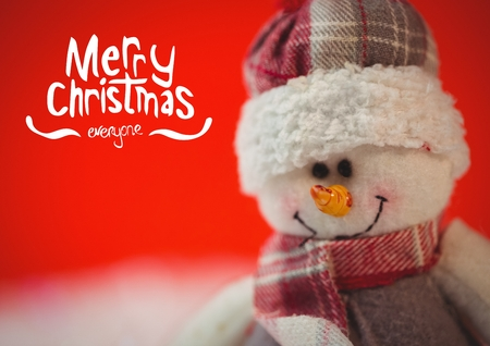 Digitally composite image of merry christmas with fluffy snowman