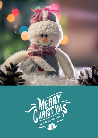 Digitally composite image of merry christmas and 2017 new year message with fluffy snow man