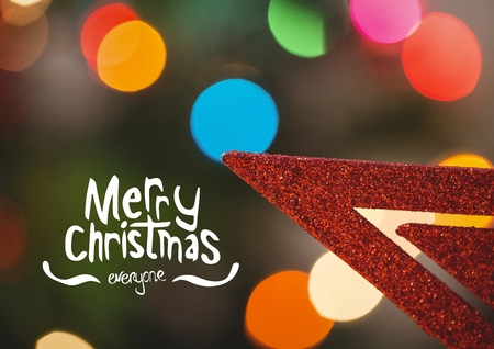 part time: Digitally composite image of merry christmas message against defocused background Stock Photo