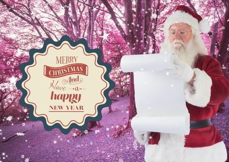 wish  list: Santa claus reading wish list against pink forest background