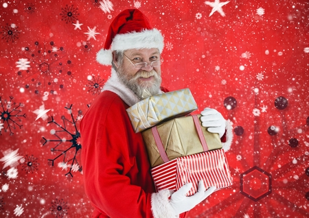 frohe: Santa claus holding stack of christmas gifts against digitally generated background