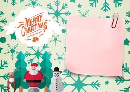 Close-up of sticky note and christmas message on digitally generated background Stock Photo