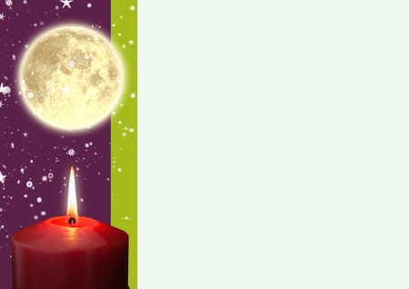 western script: A lighted candle and full moon against digitally generated background