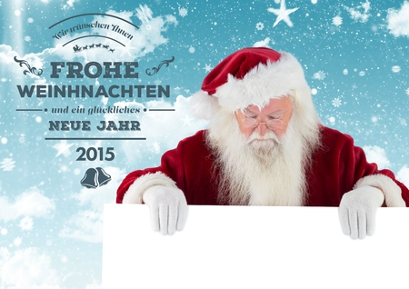frohe: Merry christmas greetings with santa claus holding placard against digitally generated background