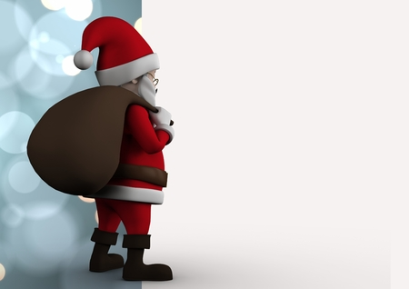 Santa claus figurine standing gift sack against digitally generated background