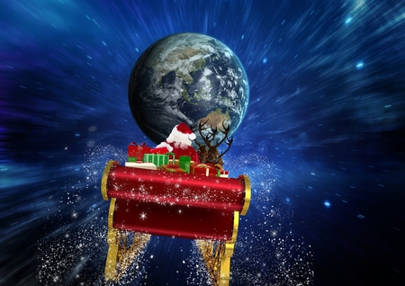 Santa claus riding reindeer sleigh towards globe against digitally generated sky Stock Photo