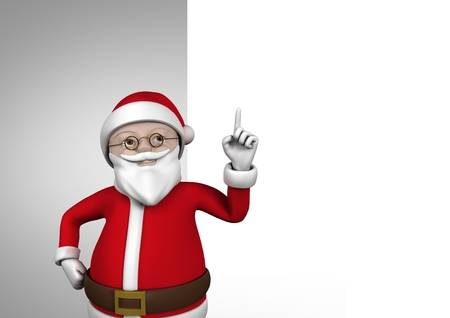 against white: Santa claus figurine with hand pointing up against white background
