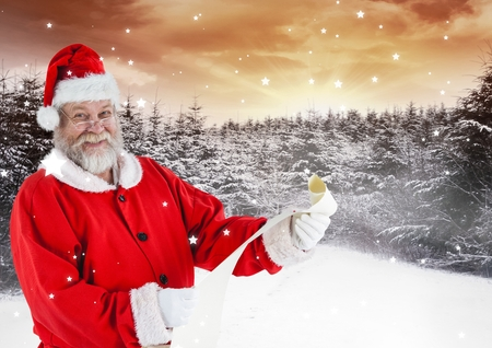 Portrait of happy santa holding checklist against digitally generated snowy background