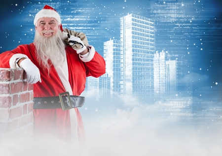Happy santa claus leaning on a wall against digitally generated background