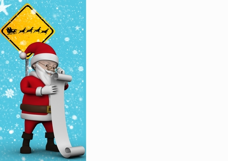 Santa claus figurine standing with checklist against snowfall background