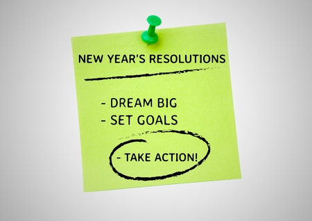 paper wad: New year resolution goals written on sticky notes against white background