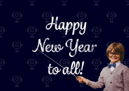 academic touch: Portrait of smiling boy pointing with stick at new year greeting quotes