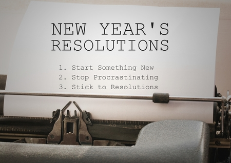 paper wad: List of new year resolution goals typed on typewriter