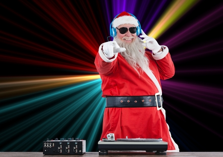 Portrait of dj santa claus mixing up some Christmas cheer Stock Photo