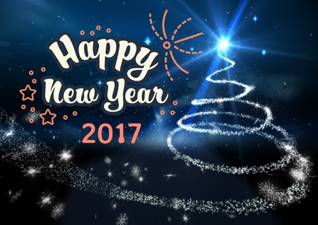 Happy new year 2017 wishes on digitally generated background Stock Photo