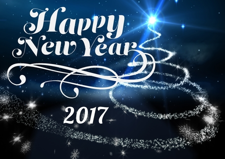 2017 new year wishes against digitally generated blue background