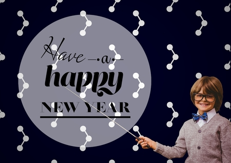make believe: Portrait of smiling boy pointing with stick at new year greeting quotes