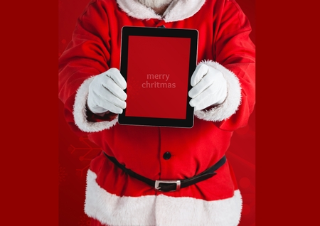 xmass: Mid section of santa claus holding a digital tablet with text marry xmass