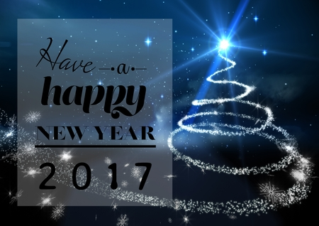 full time: Happy new year 2017 wishes on digitally generated background Stock Photo