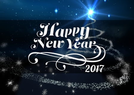 digitally: 2017 new year wishes against digitally generated blue background