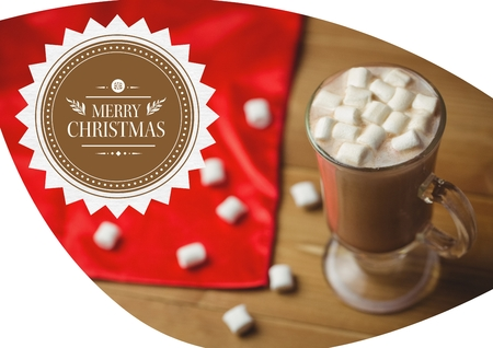 spongy: Merry christmas greetings with coffee and marshmallow in glass on table