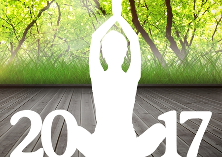 donation drive: Silhouette of person sitting in yoga pose forming 2017 new year sign Stock Photo