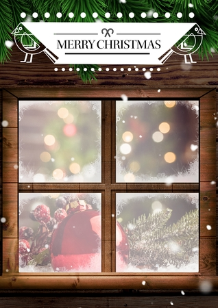 wooden window: Composite image of merry christmas greeting over a wooden window