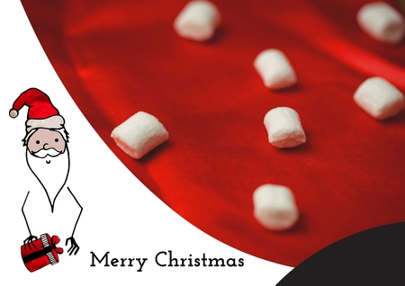 Composite image of merry christmas wishes with santa and marshmallows in background