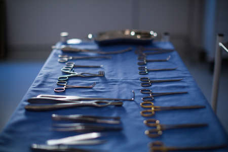 surgical tray: Surgical instrument kept on a table in operation theater at hospital
