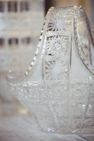 showpiece: Close-up of a glassware on table at glassblowing factory LANG_EVOIMAGES