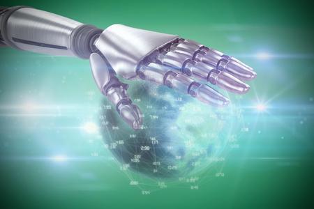 mano robotica: el metal de plata mano robótica contra la viñeta verde