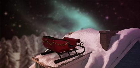 snowcapped mountain: Christmas sledge with bells against trees on snow covered field aurora borealis