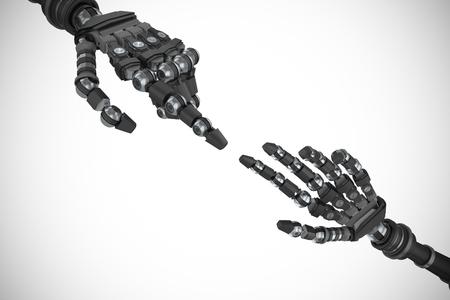 mano robotica: brazo robótico sobre el fondo blanco contra la imagen generada digitalmente de la mano robótica