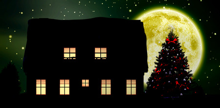 Graphic christmas tree  against composite image of full moon Stock Photo