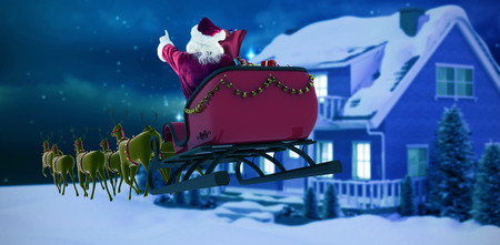 Santa Claus riding on sleigh during Christmas against starry sky over fir trees
