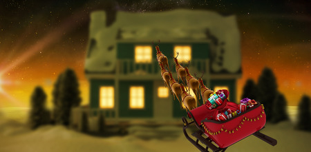 land scape: High angle view of reindeer pulling red sleigh with gift box during Christmas against digitally generated snowy land scape