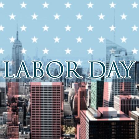 western script: Labor day text  against city skyline