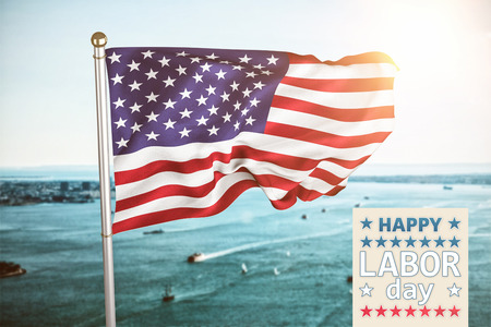 Poster of celebrate labor day text against harbour Stock Photo