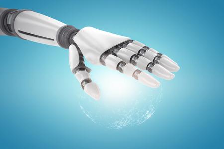 mano robotica: robótica de la mano sobre fondo blanco contra imagen generada digitalmente de la tierra iluminada