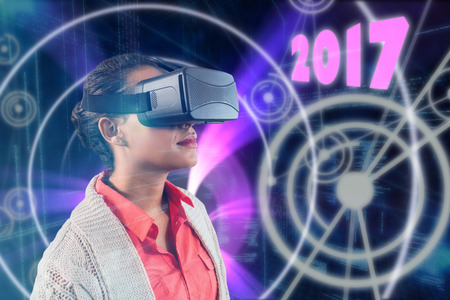 up code: Close up of teacher holding virtual glasses against binary codes and lines Stock Photo
