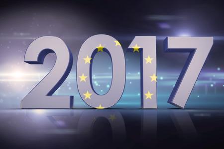 european union flag: european union flag against black background with spark Stock Photo