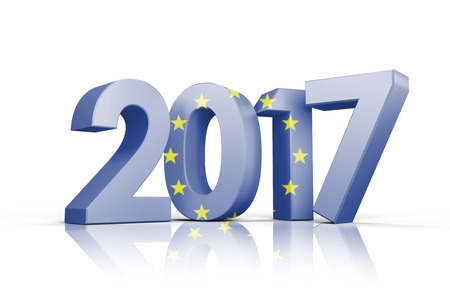 european union flag against illustration of new year number